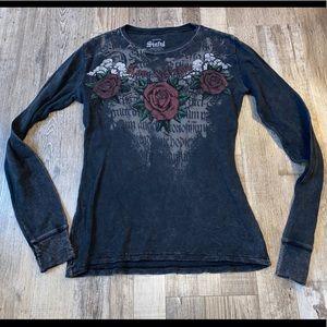Sinful long sleeve black shirt